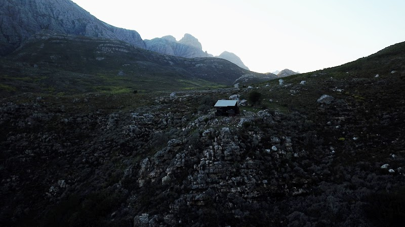 The hut at dawn, shot from the drone