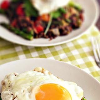 Warm Lentil, Bacon & Asparagus Salad with Fried Eggs