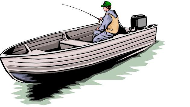 рисунок рыбак на лодке