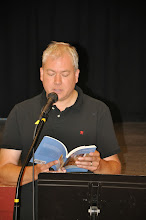 Photo: Michael Dylan Welch, RASP poetry anthology editor, reads one of his contributions to the book.