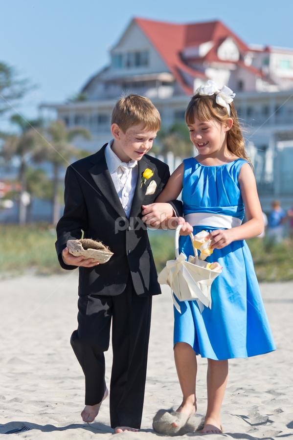 Ring Barrier and Flower Girl by Robby Ticknor - Wedding Ceremony ( ring, sand, girl, wedding, beach, boy, flower )