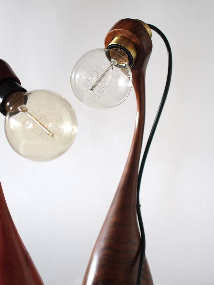 Long neck lamps from Ruum Gallery.