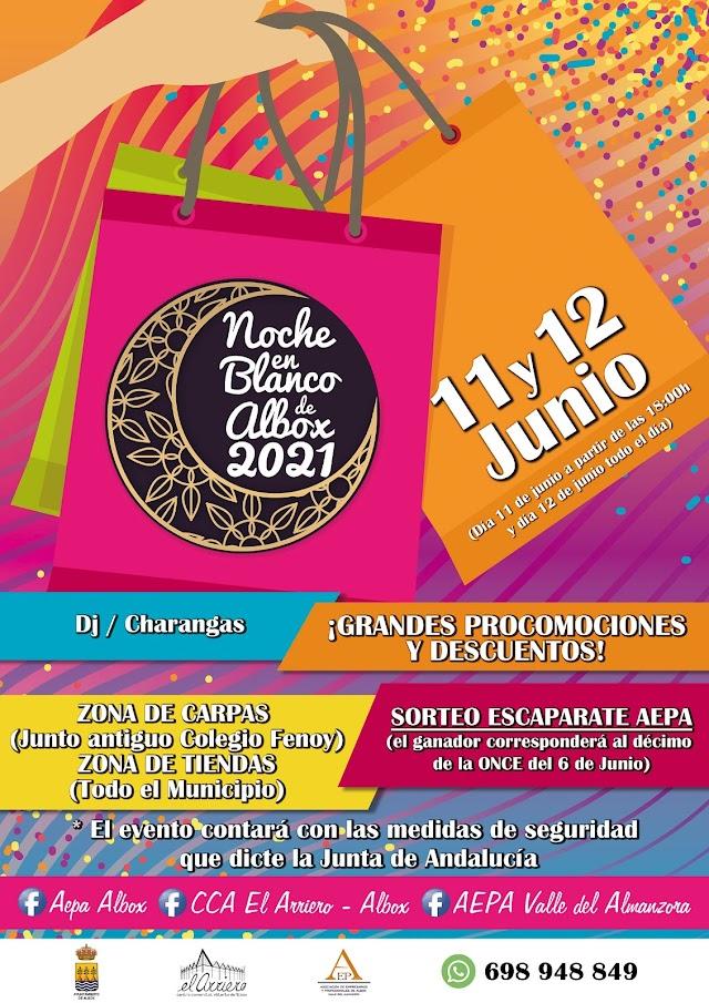 Cartel de la Noche en Blanco de Albox 2021.