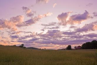 Photo: Sunrise over a farm in Dayton, Maine