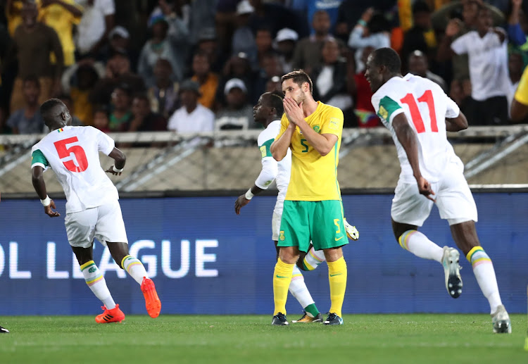 Dean Furman of South Africa reacts in disappointment after missed chance after Thamsanqa Mkhize's own goal during the 2018 World Cup qualifying football match between South Africa and Senegal at Peter Mokaba, Stadium, Polokwane, South Africa on 10 November 2017.