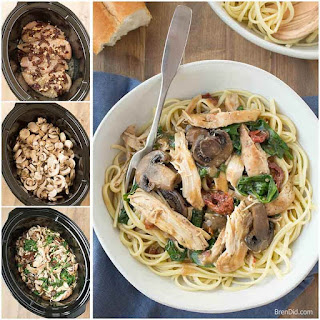 Crock Pot Chicken Marsala with Mushrooms, Sun Dried Tomatoes and Spinach.