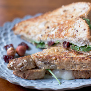 Grilled Cheese Recipe with arugula dried cherries and hazelnut butter.