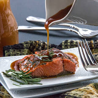 Roasted Salmon with Apple Cider Glaze.
