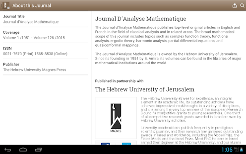 Journal D'Analyse Mathematique- screenshot thumbnail