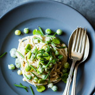 Creamy Cashew-Miso Pasta with Peas and Fava Beans {gluten-free, vegan option}.
