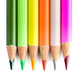 Coloured Pencils by Darrell Evans - Artistic Objects Other Objects ( close up, art, pink, education, color, isolated, white background, office, graphite, pencil, crayons, point, greenyellow, orange, colour, multicolored, school, wooden, stationery, tip, wood, colourful, no people, colorful )