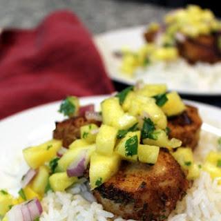 Jerk Scallops with Pineapple Salsa over Coconut Rice.