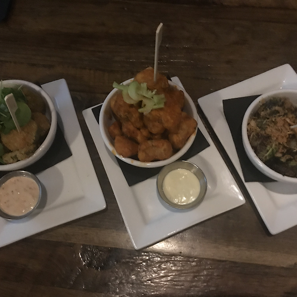 Fried pickles, buffalo cauliflower and Brussel sprouts.  All Very good. (Cauliflower is a tad spicy if your sensitive to spice)