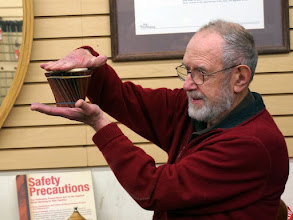 Photo: Robert C. explains how segments can conform to different shapes - here cone