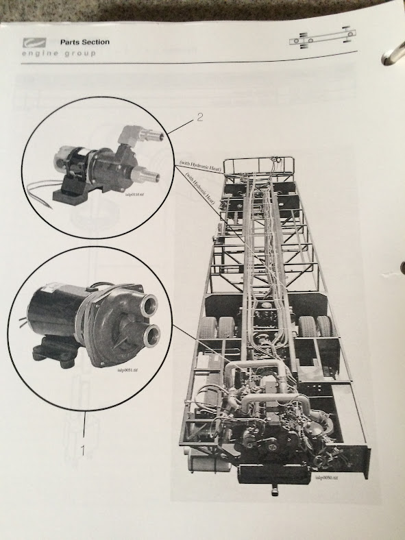 Here is the page from our tech manual that shows the two types of pumps and where they are located.
