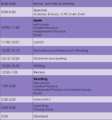 2021-22 Classroom Schedule