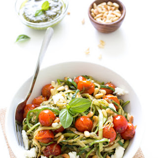 Zucchini Noodles with Blistered Tomatoes and Pesto Recipe