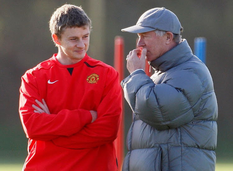 Learning from the master : Former Manchester United manager Alex Ferguson, right, and Ole Gunnar Solskjaer at the club's training ground in 2007. Picture: REUTERS