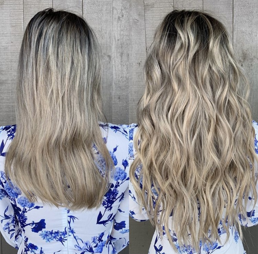 hair extensions before and after balayage