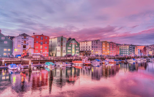 trondheim-waterfront-norway.jpg - The pretty coastal city of Trondheim in central Norway.
