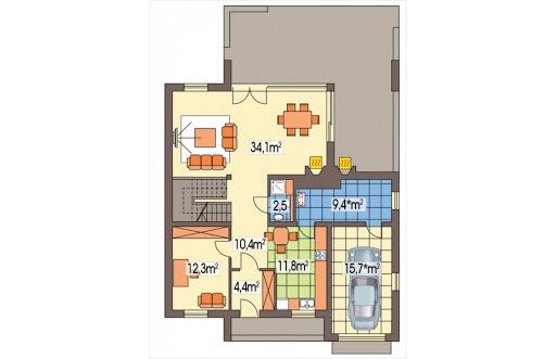 Alamo wersja B z pojedynczym garażem - Rzut parteru