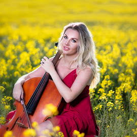 Canola dreams by Chris O'Brien - People Portraits of Women ( colour, location, woman, beautiful, blond, summer, red dress,  )