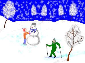 Photo: Исаханян Наири, 7 класс, Тучковская СОШ №3 В мои зимние каникулы я люблю кататься на лыжах и  лепить снеговика. Меня вдохновило именно это