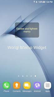 Wongi Memo Widget - náhled