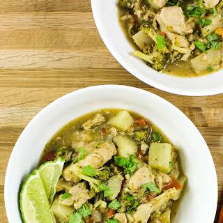 Chicken & Veggie Green Curry Soup.