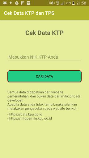 Cek data KTP dan TPS PEMILU 2018 2.0 screenshots 1