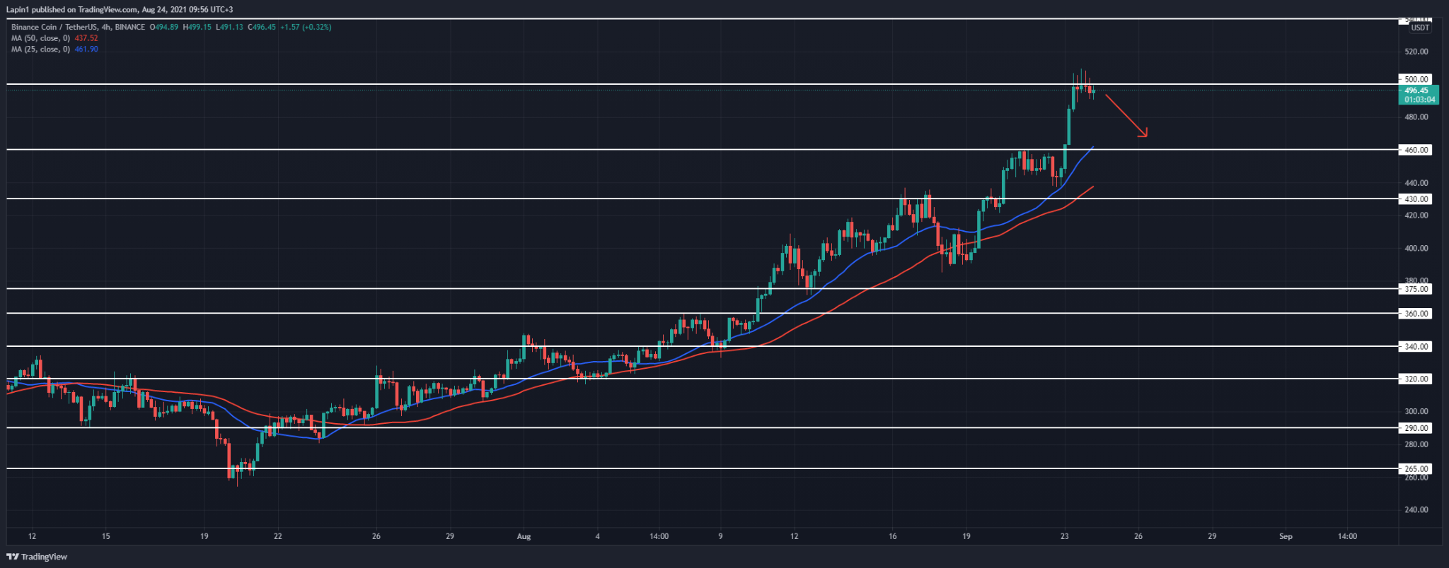Binance Coin Price Analysis: BNB reached $500, set for a retracement today?