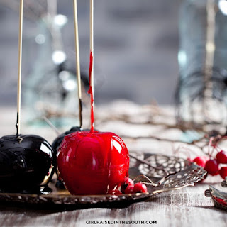 Black and Red Candied Apples