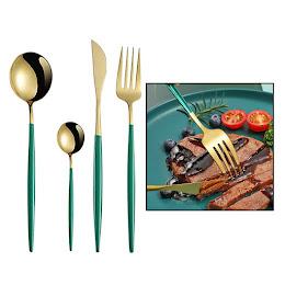 Set 4 tacamuri DeLuxe Auriu/Turcoaz, 28.3 x 14.7 x 4.5 cm