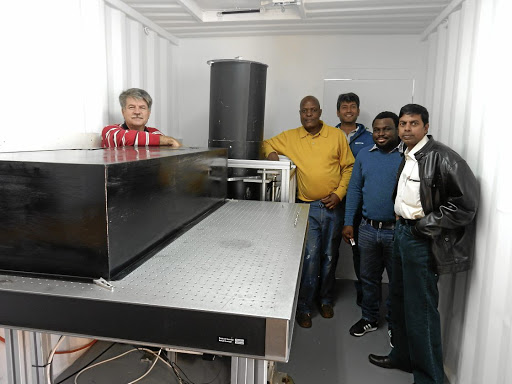 Keeping close watch: The laser laboratory will help monitor air pollution and atmospheric processes above Richards Bay. The research and design members include, from left, Henk van Wyk, Nkanyiso Mbatha, Ameeth Sharma, Bafana Moya and Sivakumar Venkataraman. Picture: CSIR