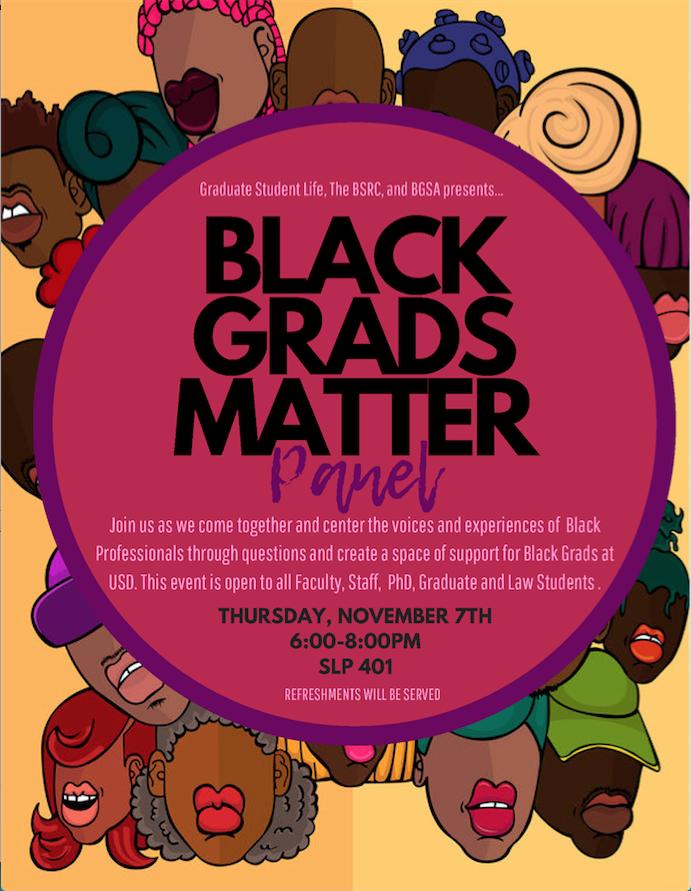 Black Grads Matter, November 7 at 6-8pm, SLP 401