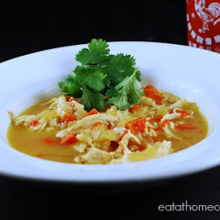 Easy Slow Cooker Thai Chicken Curry Soup.
