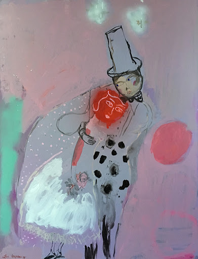 exposition collective sophie lormeau artiste femme francaise french artist figurative art contemporary Hopital Britanique colorful pink mixed media on canvas tableau figuratif chagall les maries lovers amoureux epoux wedding day mariage rose peinture acrylique sur toile chapeau haut de forme fantaisise rouge