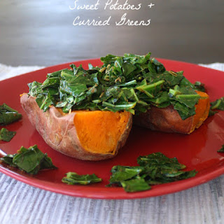Loaded Sweet Potato with Curried Greens