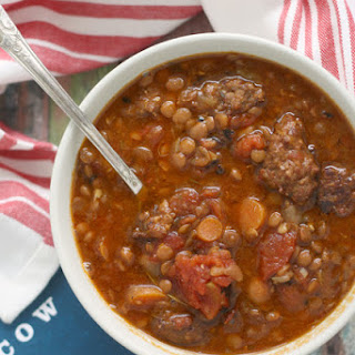 Slow Cooker Lentil Soup with Sausage and Tomatoes Recipe