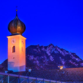 Midnight View From Garmish by Elk Baiter - Landscapes Mountains & Hills ( tower, mountains, garmish, germany, alps,  )