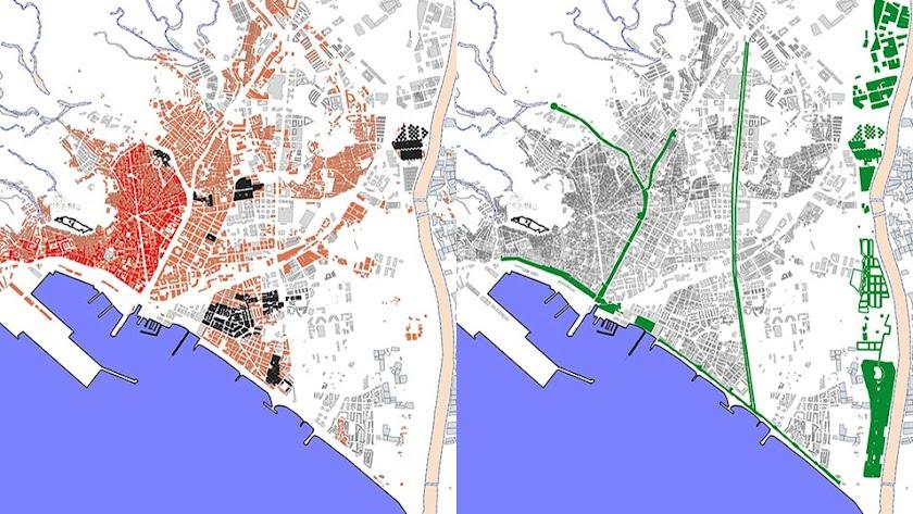 A la izquierda, la ciudad al final del franquismo. A la derecha, el río, nuevo límite de la ciudad.