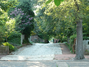 Photo: English cobblestone mews behind house