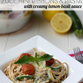 Zucchini Ribbons & Pasta with Creamy Lemon-Basil Sauce