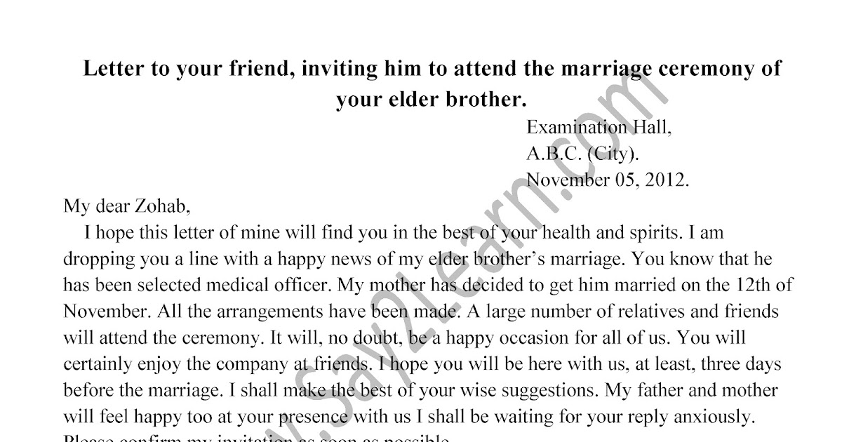 Letter to your friend inviting him to attend the marriage ceremony letter to your friend inviting him to attend the marriage ceremony of your elder brotherg google drive stopboris Image collections