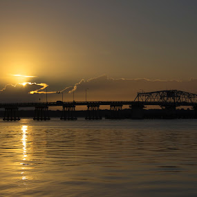 Sunrise Over Bridge by Keith Wood - Landscapes Waterscapes ( beaufort, kewphoto, sc, sunrise, keith wood,  )