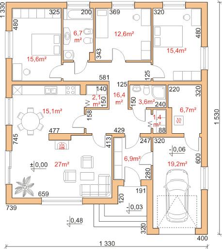 Dom przy Słonecznej 3 - Rzut parteru