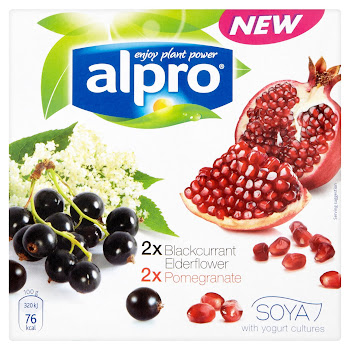 Alpro Soya Yogurt - Blackcurrant, Elderflower & Pomegranate, 4x125g