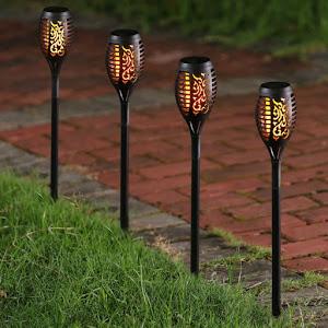 Set 3 x lampa solara cu efect de flacara, 50 cm