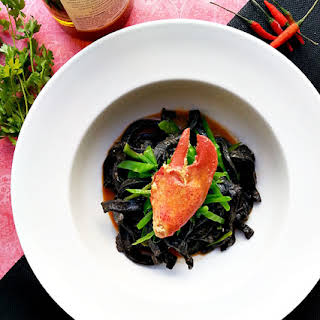 Squid Ink Pasta with Lobster and Sea Urchin.
