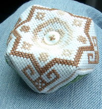 Photo: Completed 30 Mar 2007. I was able to finish assembling this biscornu on the car. It is a gift for a friend.